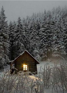 mountain cabin winter #winter #cabininthewoods