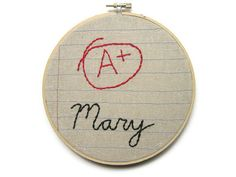 Customized A Plus Six Inch Embroidery Hoop Wall by MontclairMade, $26.00
