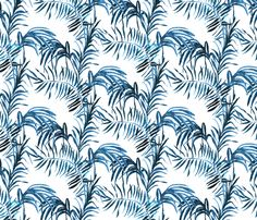 Tropical Palm (indigo linen) fabric by nouveau_bohemian on Spoonflower - custom…
