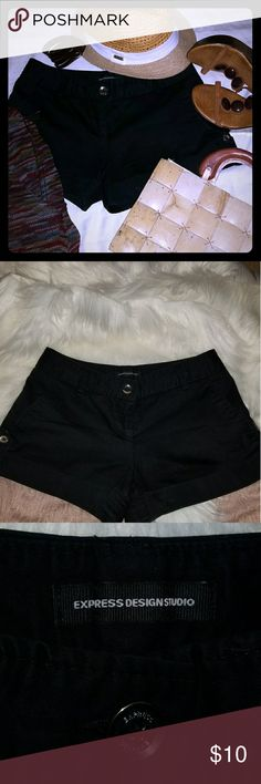 """Express shorts Black shorts, silver buttons on side of each leg. 10"""" in length from waist. Express Shorts"""