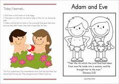 Sunday School Adam and Eve FREE take-home page