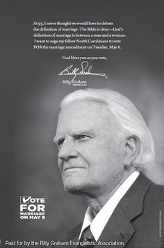 Billy graham quotes | Billy Graham: The bible's definition of marriage is clear, I just ...