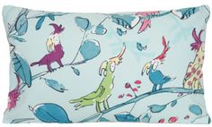 Comical Parrots Cushion Cover Birds Throw by CoralHomeAccessories I absolutely adore this high end whimsical fabric...
