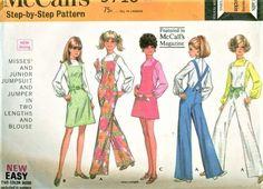 1960s MOD McCalls 9710 Pattern CUTE Jumpsuit Cover Alls Jumper Dress Pattern Bust 30 Vintage Sewing Pattern UNCUT