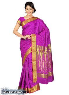 #Pink,#Golden #Kanchipuram #Silk #Saree #nikvik  #usa #designer #australia #canada #freeshipping #Kanjeevaram #Kanjeevaramsarees