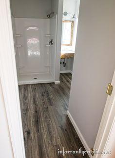Flooring In the Bathroom and Laundry Room water-resistant-laminate-flooring Wood Linoleum Flooring, Laminate Flooring Bathroom, Aquaguard Flooring, Wood Floor Bathroom, Non Slip Flooring, Bedroom Flooring, Laundry In Bathroom, Bathroom Faucets, Bathroom Ideas