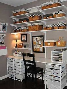Black-and-White Scrapbook Room Craft Room inspiration Sewing Room Organization, Craft Room Storage, Organization Ideas, Storage Bins, Scrapbook Organization, Studio Organization, Basket Storage, Storage Ideas, Craft Room Shelves