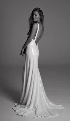 bare back wedding dress with embroidered clear sequins via rime arodaky / http://www.himisspuff.com/top-100-wedding-dresses-2017-from-top-designers/19/