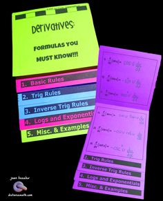 My Students LOVE this, so will yours. Perfect for ALL calculus students, AB, BC, Honors and College!! This new Flip Book includes all 24 derivative formulas that students must learn to succeed in Calculus, plus some hints and examples. Two versions of the flip book are included, one with the formulas typed in and the other for the students to fill in themselves. The Flip Book is a perfect size- and oh so easy to put together - paper saver, too.