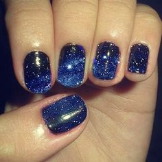 Just put black nail polish let it dry       them put on dark Blue and silver sparkles ( can do a different color if you want ) and lightly put on the top and a little heavier on other places to look like the galaxy