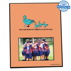 Give your soccer mom a personalized lucky duck photo frame from ChalkTalkSPORTS.com this Mother's Day! They're adorable!
