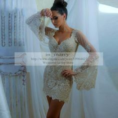 Champagne Arabic Short Cocktail Dresses 2015 Sheath Sweetheart Vintage Lace Long Sleeves Islamic Formal Evening Vestido De Festa Party Gowns Short Cocktail Dresses Short Party Gowns Crystal Cocktail Dresses Online with $180.58/Piece on In_marry's Store | DHgate.com