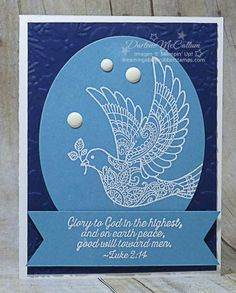 Dove of Peace Oval - www.dreamingaboutrubberstamps.com - a clean and simple card using the retiring stamp set, Berries and Bough embossing folder and enamel dots.