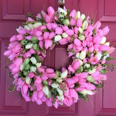 Pink Tulip Wreath, Easter Wreath, Spring Wreath, Gift for Mother's Day