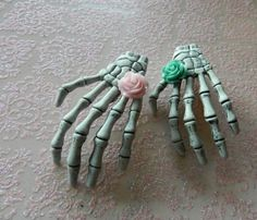 2 Skeleton Hand Hair Clips Pastel Green and Pink Roses Pin Up Rockabilly Psychobilly Pastel Goth Zombies Horror Hair Clips
