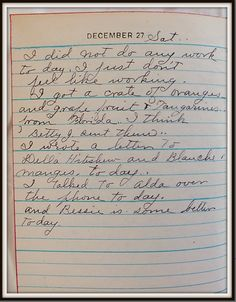 Vintage Johnstown: December 27, 1947: Diary of a Johnstown Housewife
