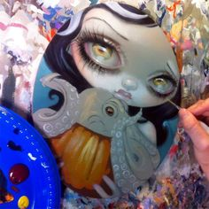 Jasmine Becket-Griffith Work-in-progress! An updated shot of the little Halloween piece I had started at the KC Renfest last weekend. She's destined to hang at Eight And Sand Gallery's All Hallows show opening this Saturday in Seattle! This cutie has an octopus in a pumpkin, because I love them both!