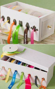 Clever DIY way to organize spools of ribbon
