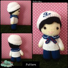 Nautical Sailor Boy Doll Crochet Pattern Instant by Yunies on Etsy #HEPTEAM