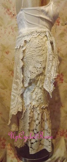 Upcycled Bohemian Hippie Wrap Skirt Shabby Chic by UpcycledRose