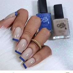 63 Ideas For Nails Art French Manicure Ongles Shellac Nails, Nail Manicure, Diy Nails, French Tip Nails, French Manicures, Fabulous Nails, Stylish Nails, Blue Nails, Nail Tips