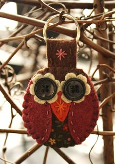 owl key ring  felt and fabric keychain brown and raspberry