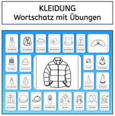 Vocabulary: Clothing (Part - Elementary Education German Resources, German Grammar, German Language Learning, Learn German, Elementary Education, Kindergarten Activities, Teaching Resources, Homeschool, Teacher