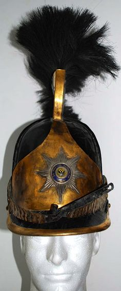 Front view of a Russian M1808-1812 Life Guards Cuirassier Regiment officer's helmet (Napoleonic wars era).