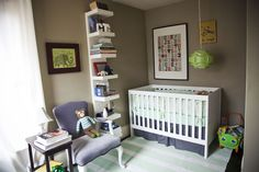 Teal, lime green and gray nursery (photograph by brianawollman.com)