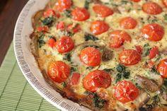 Spinach and Tomato Quiche with Potato Crust…gluten free & grain free!