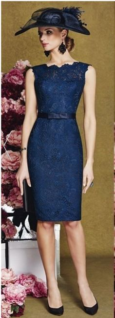 New navy lace Mother Of The Bride Outfits Social Occasion Wedding Dress customiz #short #promdress #prom #party