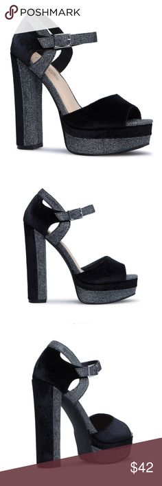 NWT Shoe Dazzle Black Velvet Shiny Heeled Sandals NWT Shoe Dazzle Black Velvet Shiny Heeled Sandals. Fit TTS. Please scroll down to view the most updated size availability! Shoe Dazzle Shoes Heels