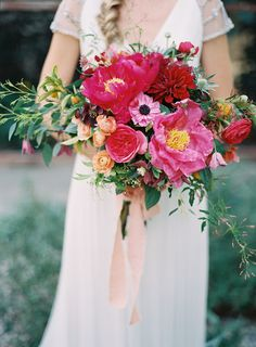 gorgeous pink on pink bouquet!   Photo by Michael Radford Photography, Flowers by Hello, Gem! Events