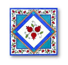 Pomegranates Art Tile Hot Pot Coaster Ceramic by Paintingontiles