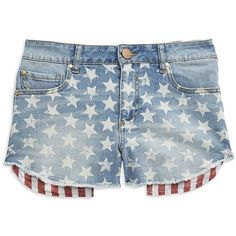 Tinsel Flag Fringe Denim Shorts (£29) ❤ liked on Polyvore