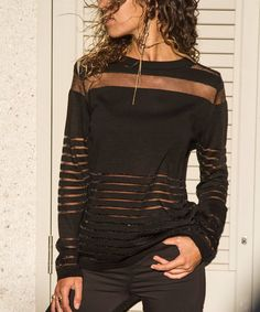 This Black Glitter-Accent Mesh-Panel Top - Women is perfect! Style Noir, Badass Style, Black Glitter, Black Tops, Solid Black, Amazing Women, Long Sleeve Tops, Sweaters For Women, Clothes For Women