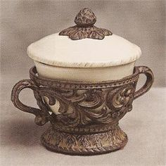 GG Collection Covered Cream Ceramic Soup Bowl