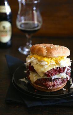 Corned Beef Burgers with Irish Cheddar Cheese www.climbinggriermountain.com