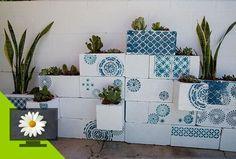 Stenciled Cinderblock Planters