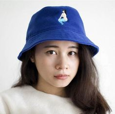 Mermaid embroidered bucket hat for women blue sun protection hats eede3c253fb3