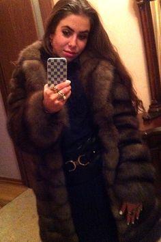 Sable fur coat selfy