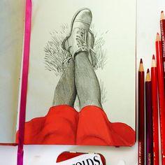 Маленькая красная юбочка. Я ее добавила уже в Фотошопе, чтобы веселее было. Скетч с фотографии с приятными воспоминаниями. Когда-то мы с Ламаром сидели на травке в красивейшем городе Сан-Франциско. Мечтаю вернуться туда и снова гулять по этим сумасшедшим улочкам с которых можно до неба дотянуться и в море скатиться кубарем. #pencilsketch #sketching #sketchbook #artistoninstagram #instaart #drawing #illustration #my_sketchbook #sketch
