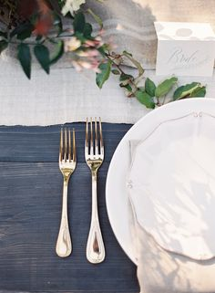 Spring Table Details via oncewed.com #wedding #reception #tablescape #calligraphy #gold #linen #details