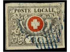 Switzerland- SUIZA. Yv.51. 1849. 4 cent. black and red with BLUE GRILL cancel (very rare cancel on this issue). Large margins and two light folds. Cert. E. RELLSTAB and VON DER WEID. Yvert.22.500€. Dealer SOLER Y LLACH Auction Starting Price: 2500.00 EUR
