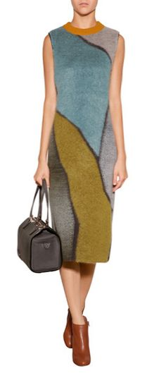 Add artful impact to your autumn dress collection with Missoni's geometric patterned sheath. A bold mix of color and pattern lends this form-fitting silhouette a contemporary twist #Stylebop