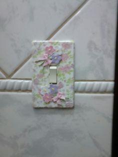 Espelho interruptor revestido com Tecido - Ateliê Cantinho Doce