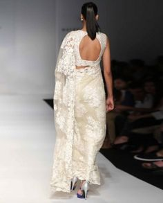 Ivory Crinkled Sari with Floral Lace