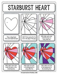 Make this Op Art Heart with step-by-step instructions. Finish with marker or yo. Make this Op Art Heart with step-by-step instructions. Finish with marker or your choice of media. School Art Projects, Art School, Line Art Projects, Heart Projects, Art 2nd Grade, Grade 2, Arte Elemental, Classe D'art, Warm And Cool Colors