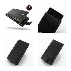 PDair Leather Case for Huawei Ascend P6 - Flip Type (Black)