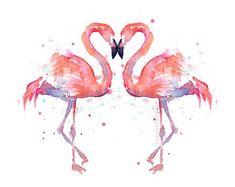 Flamingo Aquarell Malerei Kunst Print Giclee von OlechkaDesign